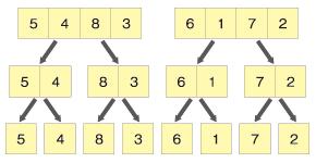 配列を分割する(5 4 8 3 6 1 7 2)