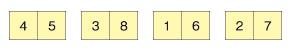 同様にほかの要素も2つずつ統合していく(4 5)(3 8)(1 6)(2 7)