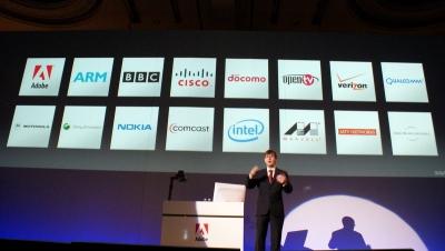 Open Screen Projectに参加する企業。アドビ、NTTドコモ、ノキア、インテルなどが並ぶ。ここにリンゴマークが並ぶ日はやって来るのだろうか