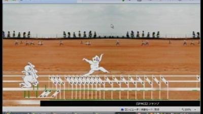 スポーツゲームの「ペロリンピック2007」。一見するとハードル走ゲームのようだが、ハードルは跳び越えても越えなくてもOK