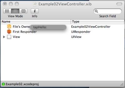 InterfaceBuilderでActionの設定