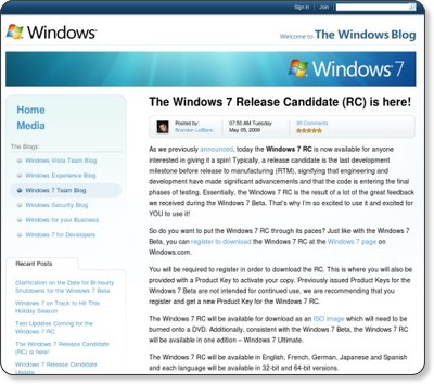 The Windows 7 Release Candidate (RC) is here! - Windows 7 Team Blog - The Windows Blog