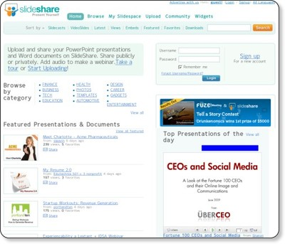 Upload & Share PowerPoint presentations and documents