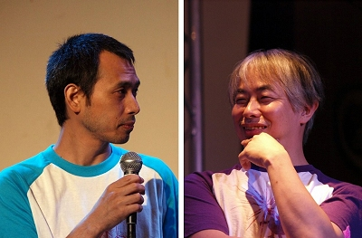 司会を務めたタナカカツキさん(左)と伊藤ガビンさん(右)。おそろい?のTシャツ姿で登場