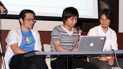 左からあんどうやすしさん、山下英孝さん、北村英志さん。10分間で2つのアプリを紹介することに