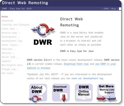 DWR - Easy Ajax for JAVA via kwout