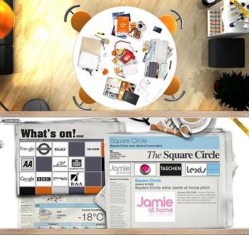 テーブルの上の雑貨などをメタファーに、コンテンツの情報が織り交ぜられています