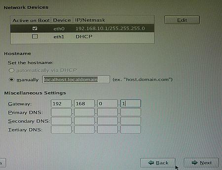 図5 ネットワーク設定を行う。ここではIPアドレスを固定にした
