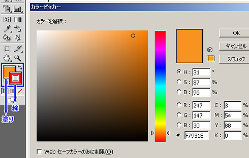 図5 [ツールパレット]→[カラー選択]
