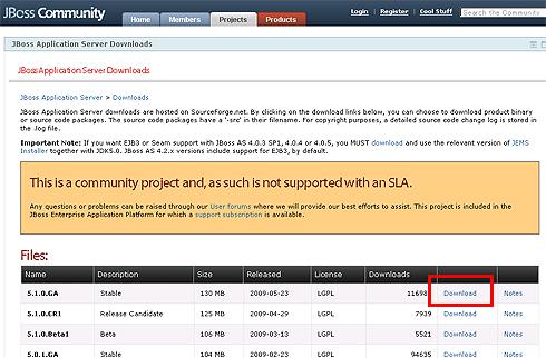 図3 JBoss Application Serverのダウンロードページ
