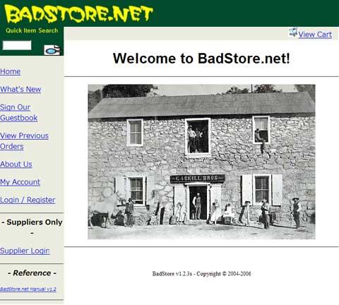 BadStore.net のトップページ