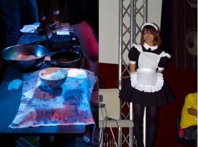 どんぶりの下にはSUPER GYU-DON SENSOR ATのセンサデバイスが隠れている(左)。謎のメイドさん(右)。客席へ牛丼を配膳する役割だったが「おいしくなる魔法」はかけてくれなかった