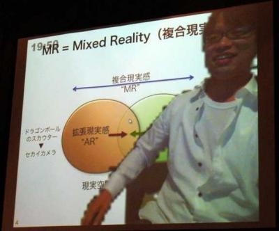 MRについて解説する川崎さん。スライドではMR、AR、VRそれぞれの関係を分かりやすく図で説明……って、かぶってて見えないよ川崎さん!