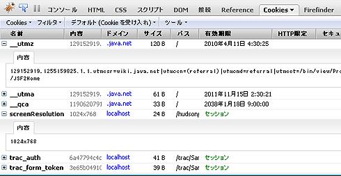 図11 FireCookieによるCookieの内容の表示