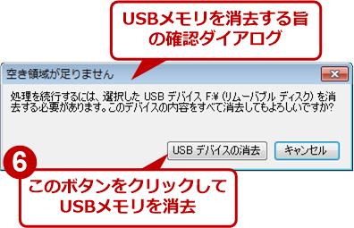 USBメモリの内容を消去する旨の確認ダイアログ