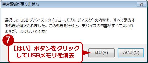 USBメモリの内容を消去する旨の最終確認ダイアログ