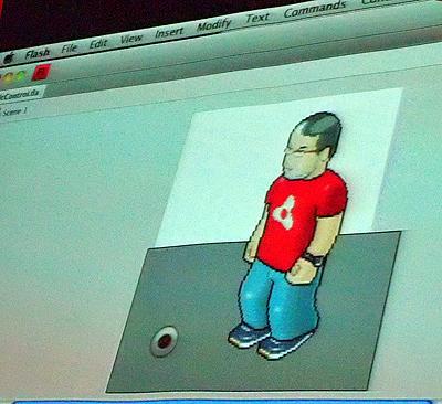 Flash CS5でできたマイク入力への直接アクセス機能のデモ(ちなみに、写っている人形らしきものは、同僚のMike Chambers氏とのこと)