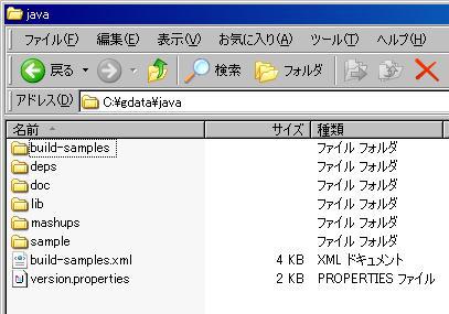 図2 「gdata/java/」フォルダの構成