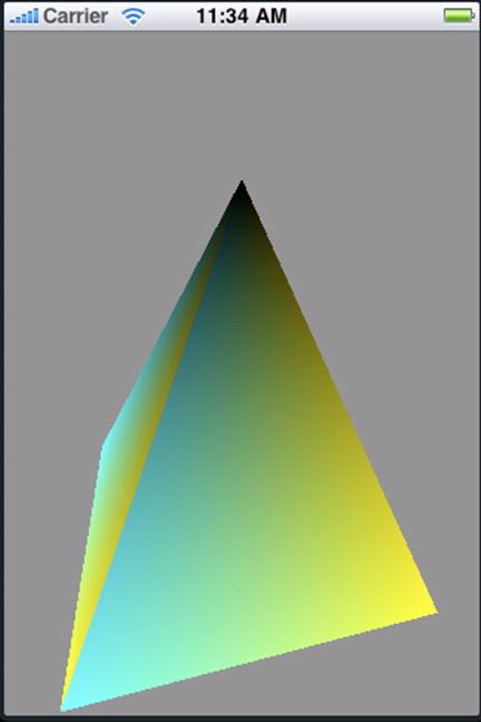 OpenGL ESを使ってiPhoneの画面に描かれたピラミッド