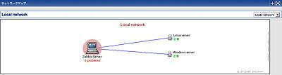 画面2 新バージョンのZABBIX 1.8ではマップ編集機能などが追加された