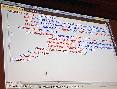 イベントを定義するXAMLコード