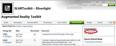図6 SLARToolkitとサンプルのソースコードは、右側の「Latest Version Download」リンクからダウンロード可能