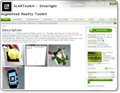 SLARToolkit - Silverlight Augmented Reality Toolkit via kwout