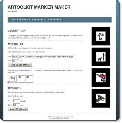 ARToolKit Marker Maker at roarmot.co.nz via kwout