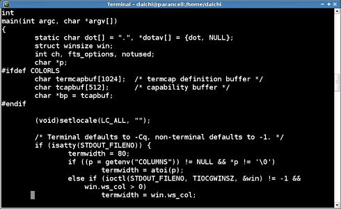 画面1 何の設定もしていないVimでls.cファイルを閲覧している例
