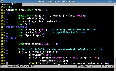 画面2 いくつかの設定を実施したVimでls.cファイルを閲覧している例