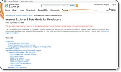Internet Explorer 9 Beta Guide for Developers via kwout