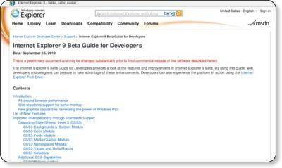 Internet Explorer 9 Beta Guide for Developers via kwout