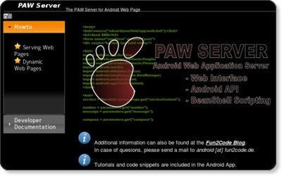 The PAW Server for Android Web Page via kwout