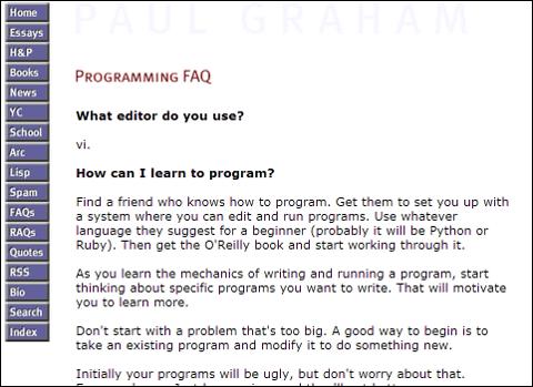 ポール・グラハムのエッセイ、「Programming FAQ」