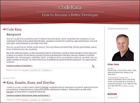 空手のように型を練習することでプログラミングスキルを向上させるというコンセプトで、デーブ・トーマスさんが主催する「Code Kata」