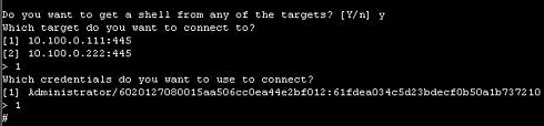 画面3 keimpxを用い、シェルを利用できるようにするまでの対話を行っているところ