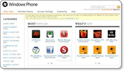 Windows Marketplace for Mobile: Shop Apps
