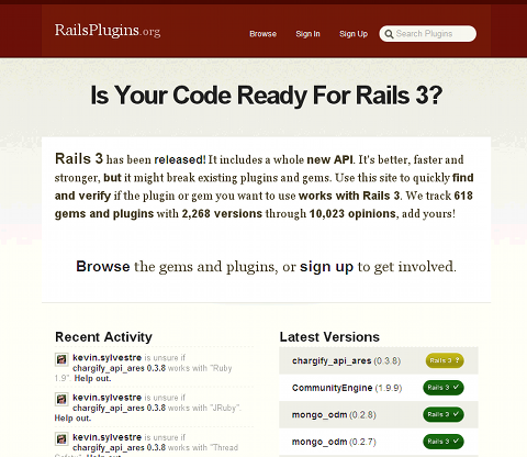 ライブラリのRuby1.9やRails3への対応状況が分かる「RailsPlugins.org」