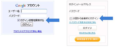 画面4 PC向けサービスで広く採用されている「ログイン状態の保持」機能の例