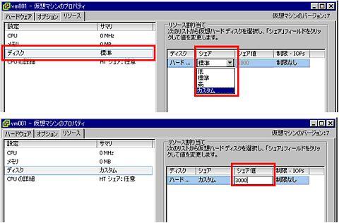 図4 SIOCのシェア値は仮想ディスク単位で設定できる