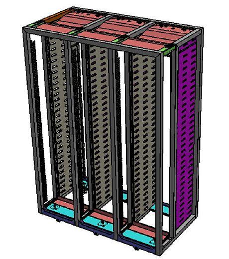 図2 ラックを3つ横に連結した形のサーバキャビネット(クリックで拡大)