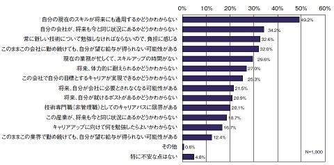 将来のキャリアにおいて不安な点(2010年調査)