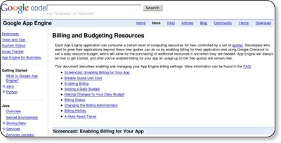 Billing and Budgeting Resources - Google App Engine - Google Code via kwout