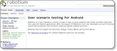 robotium - It's like Selenium, but for Android - Google Project Hosting