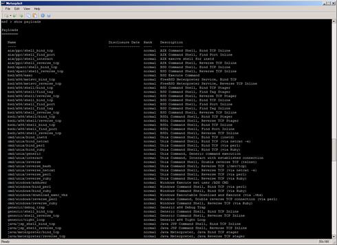 図4 このMetasploitが持っているシェルコード(ペイロード)の一覧表示(クリックすると拡大します)