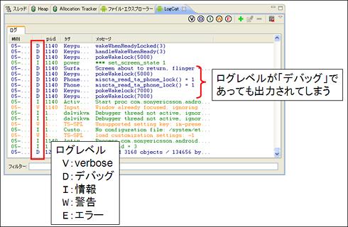 図2 AndroidSDKを利用した実機のログ閲覧例