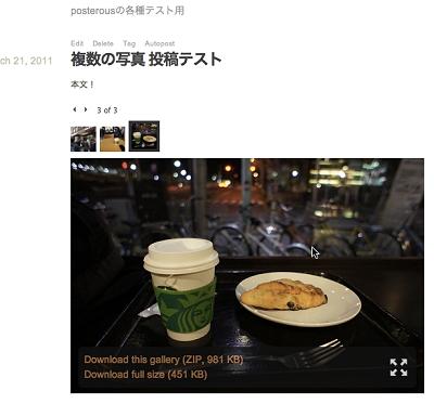 自動的にギャラリーに変換して表示してくれる。ギャラリーからはZIPファイルとして写真をまとめてダウンロードできる