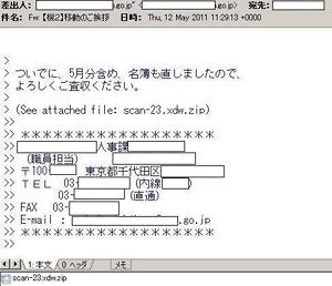 画面3 差出人には実在する官公庁の人物名が記されている
