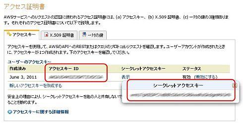図5 「アクセスキー ID」と「シークレットアクセスキー」を確認しておく