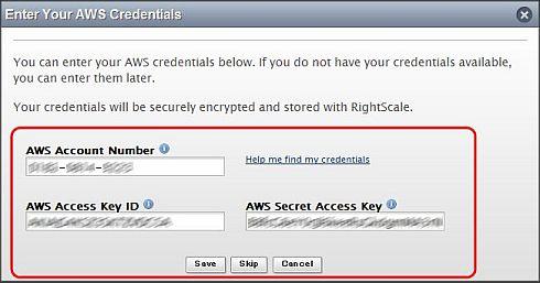 図8 AWSの口座番号とアクセスキーをRightScaleに登録する